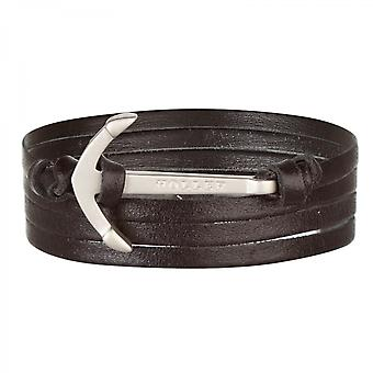 Holler Mosley  Silver Sandblasted Anchor / Black Leather Bracelet  HLB-01SRS-L13