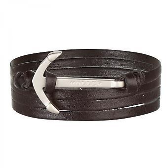 Holler Mosley Silver Sandblasted kotva/Čierna kožená náramok HLB-01SRS-D13