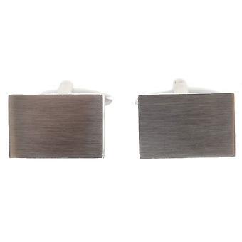 David Van Hagen Stainless Steel Rectangle Cufflinks - Silver