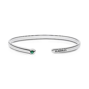 University Of Hawaii Engraved Sterling Silver Emerald Cuff Bracelet
