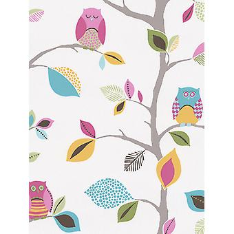 Fond d'écran Bright Owls 10m White AS Creation 8563-26