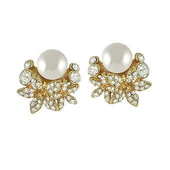 Ewige Kollektion Paradiso Crystal & Perle Gold Ton selbstnachstellend Stud-Clip auf Ohrringe