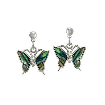Eternal Collection Take Flight Paua Shell Butterfly Silver Tone Drop Pierced Earrings