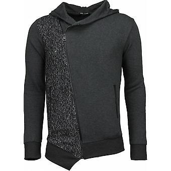 Casual Vest-Long Slant Zipper-Grey