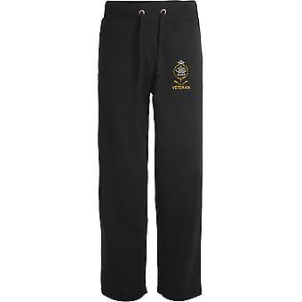 Queens Regiment Veteran - Licensed British Army Embroidered Open Hem Sweatpants / Jogging Bottoms