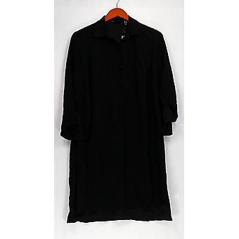 H de Halston Top botón de manga larga túnica frontal negro A301999