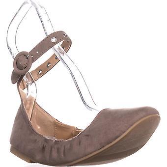 Material Girl Womens Francy tecido fechado do dedo do pé tornozelo cinta Ballet Flats