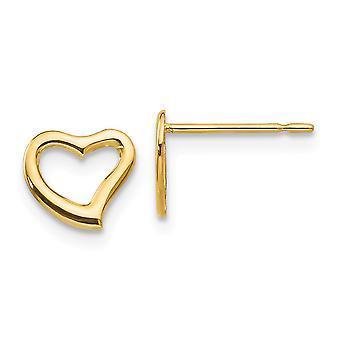 14kイエローゴールドマディK男の子や女の子のための愛のハートポストイヤリング - .3グラム