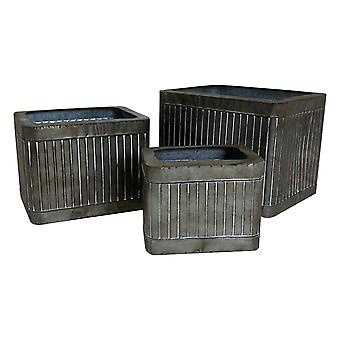 Charles Bentley Square Zinc Effect Planters (Set of Three)