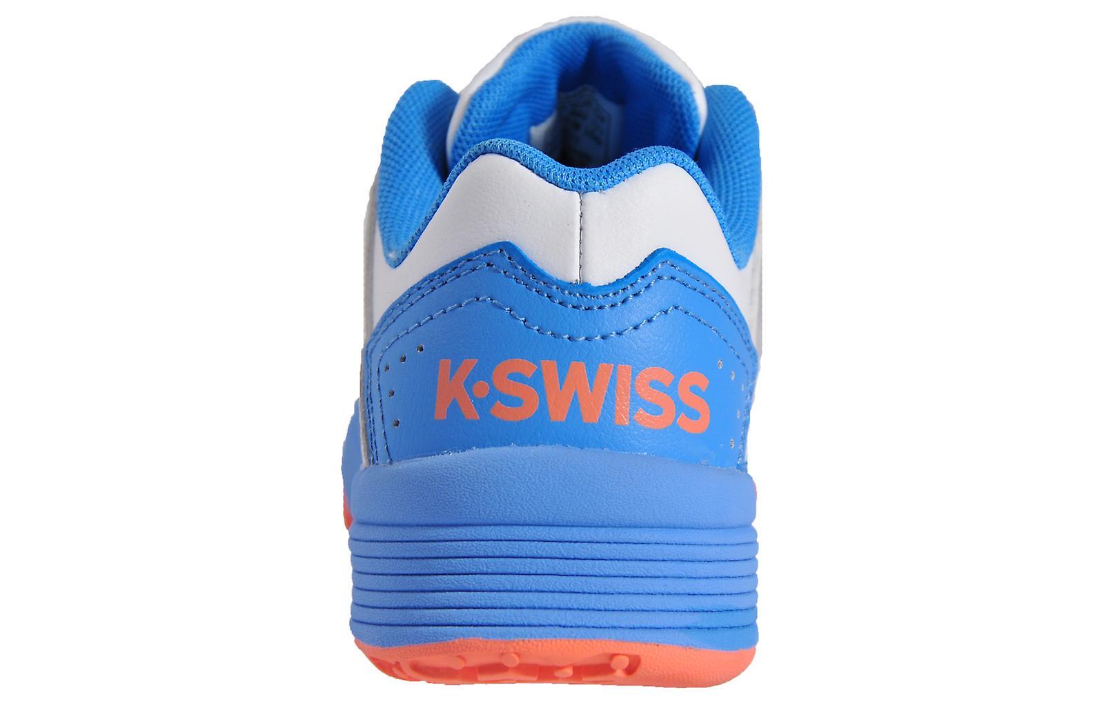 K Swiss Court Impact Leather Omni Junior White / Light Blue / Orange