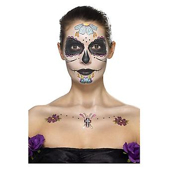 Day of the Dead Face Tattoo Transfers Kit Halloween (One Size)