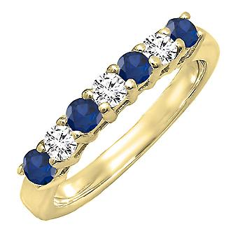 Dazzlingrock Collection 14K 2.5 MM Each Round Blue Sapphire & White Diamond Ladies Wedding Band, Yellow Gold