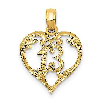 14k Yellow Gold Solid Polished 13 in Heart Cut-out Pendant - .6 Grams - Measures 19.8x14.1mm