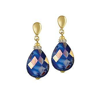 Eeuwige collectie Infinity Deep Blue AB Gemarmerde glas gouden Toon drop schroef terug clip op oorbellen