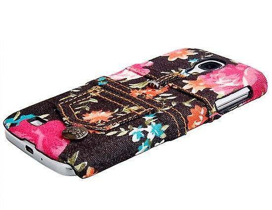 Galaxy S4 jeans shell case protection flowers cover