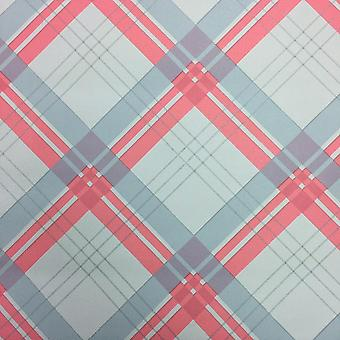 Coral Taupe Tartan Checked Wallpaper Chequered Plaid Check Arthouse Fairburn
