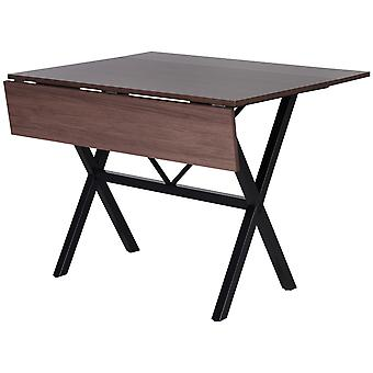 HOMCOM Dining Table Drop Leaf Metal Frame MDF Top Folding Expandable 6 Person Brown