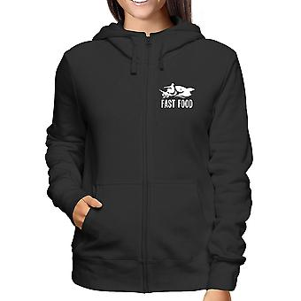 Felpa cappuccio e zip donna nero wes0222 fast food surfer shark