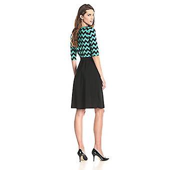Star Vixen Women's Elbow Sleeve Fauxwrap Dress, Jade/Black/Chevron, Large