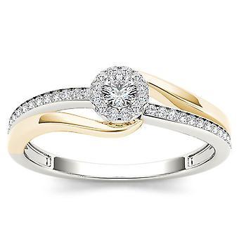 Igi certifierad 10k gul tvåfärgad vitt guld 0.25ct diamant halo förlovningsring