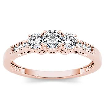 IGI Certified 14k Rose Gold 0.50Ct Natural Three Stone Diamond Engagemet Ring