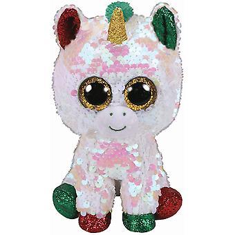 TY Flippable paillettes polvere di stelle l'unicorno piccolo beanie Boo