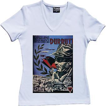 Durruti Poster V-Neck White Women's T-Shirt