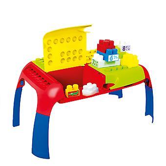 Mochtoys 11019 klappbarer Spieltisch 66 x 39 x 31 cm, bunte Bausteine 4 Fächer