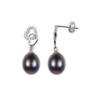 Boucles d'Oreilles Femme Coeur Pendantes pendantes en Perles de Culture Noires et Argent 925/1000