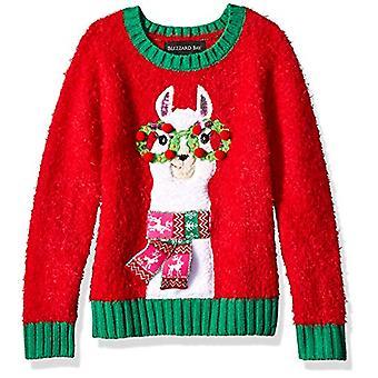 Blizzard Bay Girls Ugly Chrismas Sweater, red/Green/Llama, 6X