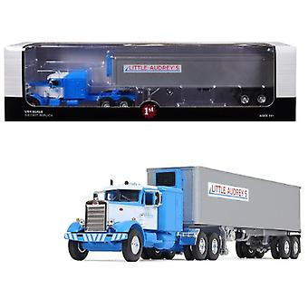 Peterbilt 351 Long Frame avec 63 Sleeper Bunk et 40'apos; Vintage (Reefer) Refrigerated Trailer Little Audrey-apos;s Transportation Blue and White 26th in a Fallen Flags Series 1/64 Diecast Model by First Gear