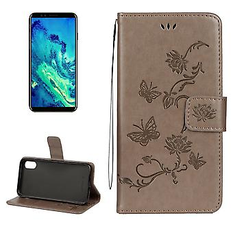 Pour iPhone XS, X Wallet Case,Styled Lotus Butterfly Protective Leather Cover,Grey