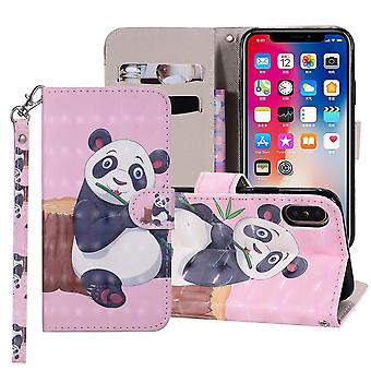 Panda Pattern Folio Leather Case For iPhone XR,Holder,Card Slots,Wallet,Lanyard