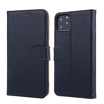 Pour iPhone 11 Pro Max Case Cowhide Genuine Leather Wallet Protective Cover Navy