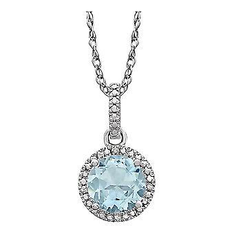 925 Sterling Silver Aquamarine Aquamarine og 0,01 Dwt Diamond Halskjede smykker gaver til kvinner