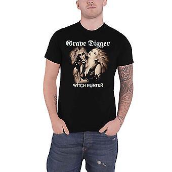 Grave Digger T Shirt Witch Hunter Band Logo nouveau noir officiel pour hommes