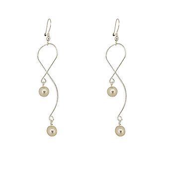 Schlangenkette Perle Tropfen Ohrringe - Silber