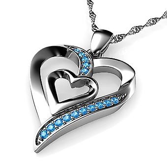 Dephini heart necklace - 925 sterling silver blue cz crystal