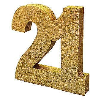 Numero 21 vapaasti seisova kulta Glitter pöytä numero 21st syntymä päivä juhlat