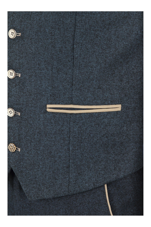 Marc Darcy  Marc Darcy Glen Navy Blue Tweed Waistcoat