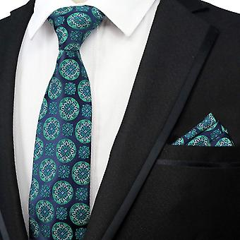 Green floral pattern designer tie & pocket square set