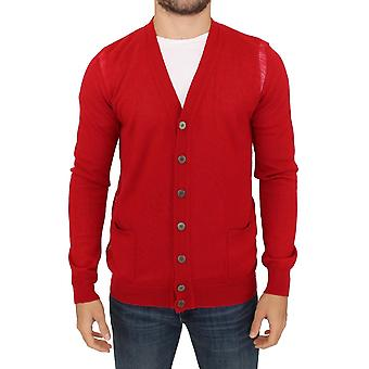 Karl Lagerfeld Red Wool Cardigan Sweater