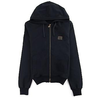 Dolce & Gabbana Dolce&Gabbana Gold Metal Logo Patch Zip Up Hoody Black
