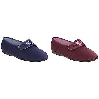 Sleepers Womens/Ladies Jolene Touch Fastening Embroidered Slippers