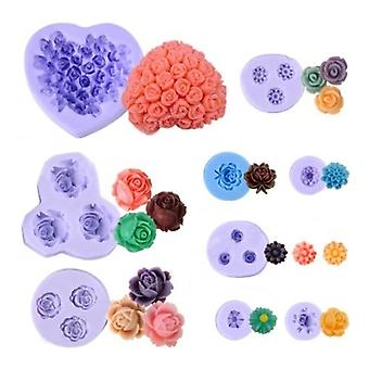 9 Pcs Silicon Flowers Shape Mold Cutters For Gâteaufondantmarzipancookie Cuttersoapchocolate