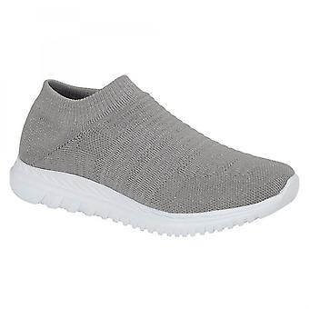 Cipriata Martina Ladies Slip On Elasticated Trainers Sparkle Grey