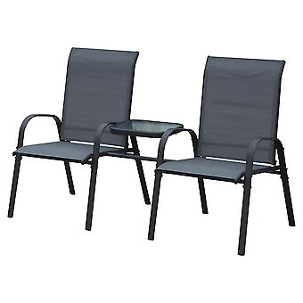 Outsunny Garden Outdoor Patio Companion Chair with Middle Table 2 Seater Metal Frame Textilene - Black