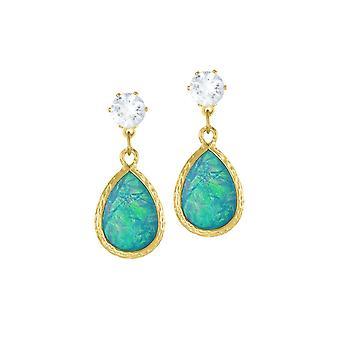 Eternal Collection Serendipity Light Blue Opalescent Teardrop Gold Tone Drop Pierced Earrings