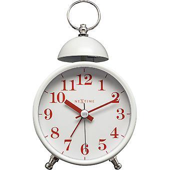 NeXtime - Wecker – ca. 16 cm - Metall – Weiß – Lauter Alarm- 'Single Bell'