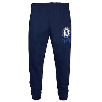 Chelsea FC Official Football Gift Boys Slim Fit Fleece Joggers Jog Pants